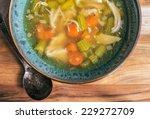 homemade chicken soup in a... | Shutterstock . vector #229272709