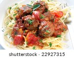 Close-up bowl of spaghetti and meatballs.  Delicious! - stock photo