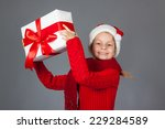 happy girl with christmas... | Shutterstock . vector #229284589