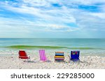 four empty bright color beach... | Shutterstock . vector #229285000