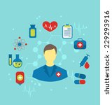 illustration doctor with flat... | Shutterstock .eps vector #229293916
