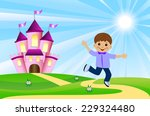 merry boy and fairy tale palace ...   Shutterstock .eps vector #229324480
