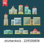 set of flat design buildings... | Shutterstock . vector #229330858