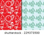 set of seamless christmas... | Shutterstock .eps vector #229373500
