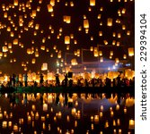 People Release Sky Lanterns To...