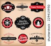 vintage retro labels vector... | Shutterstock .eps vector #229415950