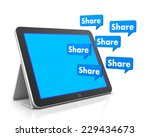 share and tablet 3d  social... | Shutterstock . vector #229434673