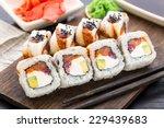 sushi roll with salmon  tuna... | Shutterstock . vector #229439683