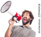 young crazy man shouting with a ... | Shutterstock . vector #229440418