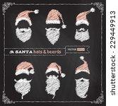 vector chalk christmas hats ... | Shutterstock .eps vector #229449913