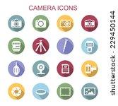 camera long shadow icons, flat vector symbols
