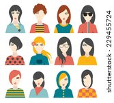 woman avatar pictures. flat...