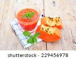 papaya smoothie.   Shutterstock . vector #229456978