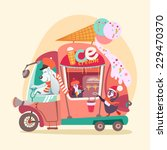 cute cartoon ice cream wagon... | Shutterstock .eps vector #229470370