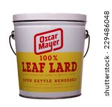 Small photo of RIVER FALLS,WISCONSIN-NOVEMBER 10,2014: A vintage can of Oscar Mayer leaf lard. Leaf lard is the highest grade of lard used for cooking.