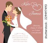 wedding couple for invitation... | Shutterstock .eps vector #229497493