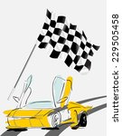 racing car with checker flag  | Shutterstock .eps vector #229505458