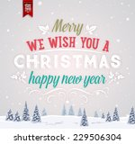 vintage christmas greeting card ... | Shutterstock .eps vector #229506304