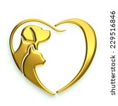 Stock photo dog and cat love heart d rendering illustration 229516846