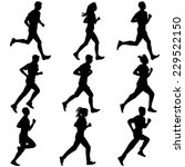 set of silhouettes. runners on... | Shutterstock .eps vector #229522150