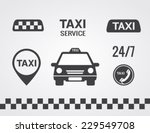 taxi icons set  flat style