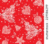 Christmas seamless red retro pattern. Vector illustration. - stock vector