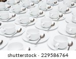 white coffee cups on a white...   Shutterstock . vector #229586764