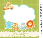 baby shower card with cartoon... | Shutterstock .eps vector #229592110