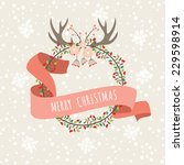 christmas hand drawn floral... | Shutterstock .eps vector #229598914