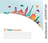 travel and tourism background... | Shutterstock .eps vector #229599769