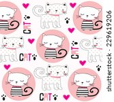 Stock vector cute childish pattern with cats vector illustration 229619206