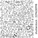 children's  drawings of doodle... | Shutterstock .eps vector #229628998