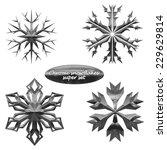 snowflakes set. vector chromed...