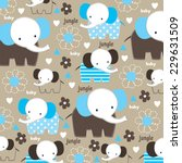 Stock vector cute childish pattern with elephant and flower vector illustration 229631509