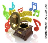 old gramophone and musical... | Shutterstock . vector #229635220