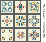 collection of 9 ceramic tiles ... | Shutterstock .eps vector #229654096