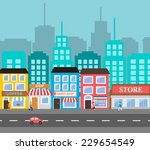 small town urban landscape in... | Shutterstock .eps vector #229654549