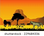 stryped hyena.antilopes and... | Shutterstock .eps vector #229684336