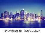 new york city panorama night... | Shutterstock . vector #229726624
