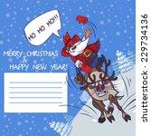 santa claus rushing on deer | Shutterstock .eps vector #229734136