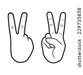victory hand sign outline vector | Shutterstock .eps vector #229735858