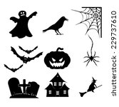 halloween icons set | Shutterstock .eps vector #229737610