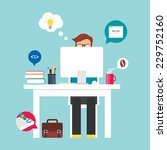 man sitting at the desktop and... | Shutterstock .eps vector #229752160