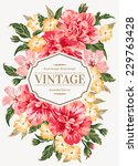 Stock vector vintage greeting card with colorful flowers vector illustration 229763428