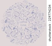 coffee round background vector... | Shutterstock .eps vector #229774234