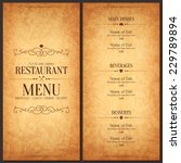 Restaurant menu design. Vector menu brochure template for cafe, coffee house, restaurant, bar. Food and drinks logotype symbol design. Crumpled vintage paper background | Shutterstock vector #229789894