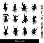 silhouettes of happy people for ... | Shutterstock .eps vector #229790134