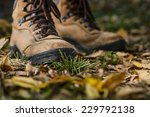 hiking boots on the forest floor | Shutterstock . vector #229792138