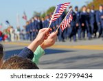 Stock photo flags at veteran s day parade 229799434