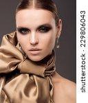 Studio Fashion  In Golden Dress